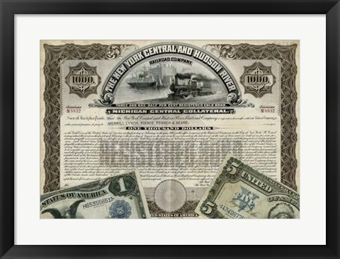 Framed Antique Stock Certificate I Print