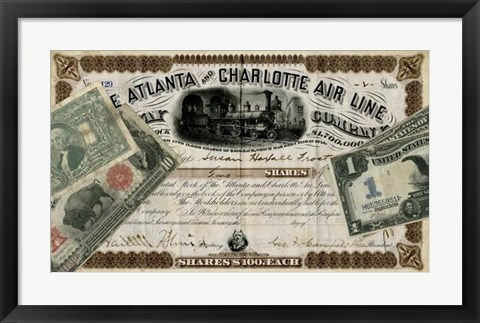 Framed Antique Stock Certificate IV Print