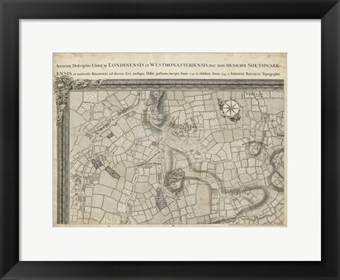Framed Map of London Grid I Print