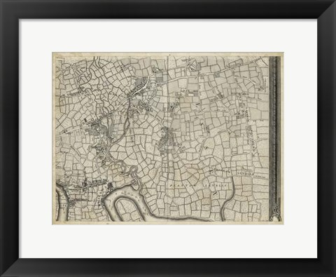Framed Map of London Grid VIII Print