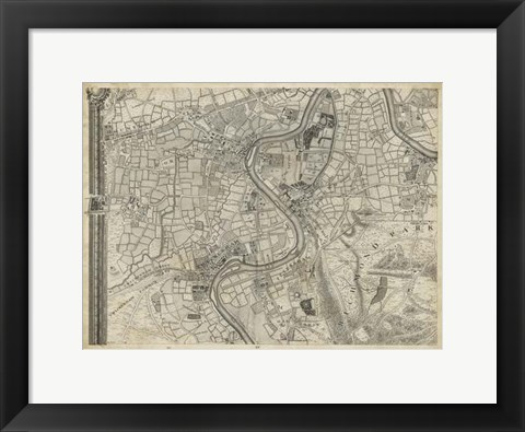 Framed Map of London Grid IX Print
