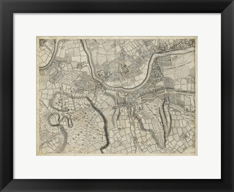 Framed Map of London Grid X Print