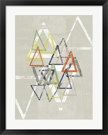 Framed Stamped Triangles II Print