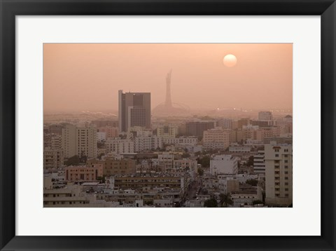 Framed Qatar, Ad Dawhah, Doha. Aerial View of Dowtown / Sunset Print