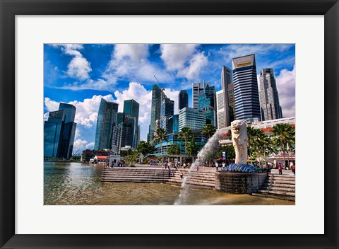 Framed Merlion, symbol of Singapore, and downtown skyline in Fullerton area of Clarke Quay. Print