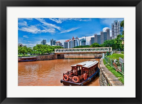 Framed Singapore skyline and tug boats on river. Print