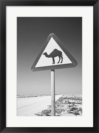 Framed Qatar, Al Zubarah. Camel Crossing Sign-Road to Al-Zubarah NW Qatar Print