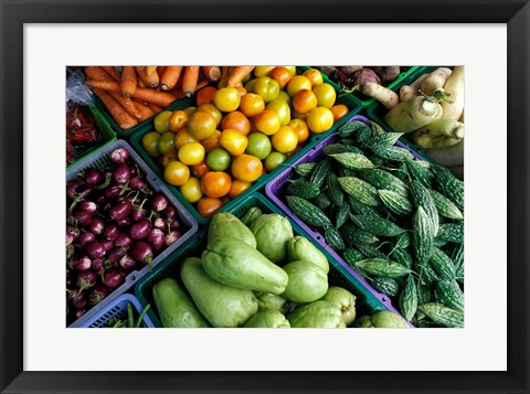 Framed Asia, Singapore. Fresh produce for sale at street market Print