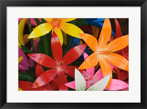 Framed Star shaped carved wooden flowers at market, Bo Sang, Chiang Mai, Thailand Print