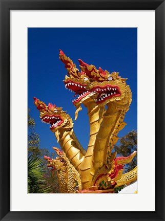 Framed Trio of dragon heads, Wat Phra That Doi Suthep Rajvoravihara, Chiang Mai, Thailand Print