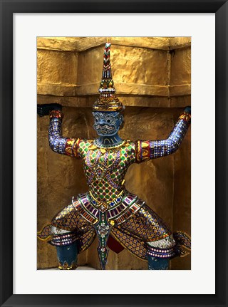 Framed Close-up of beautiful gold decorations at Emerald Buddha in Grand Palace in Bangkok Thailand Print
