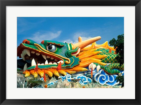 Framed Famous Dragon at Haw Par Villa in Singapore Asia Print