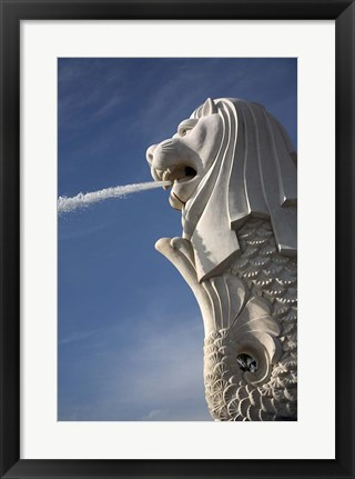 Framed Singapore. Merlion statue in the Merlion Park Print