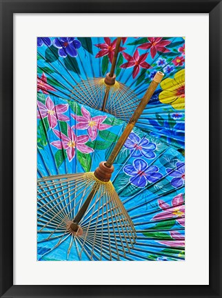 Framed Decorative umbrellas, Chiang Mai, Thailand Print