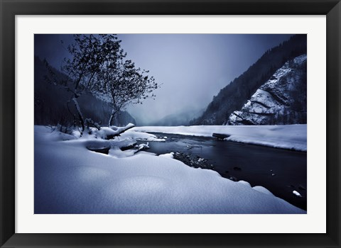 Framed Small river in the misty, snowy mountains of Ritsa Nature Reserve Print