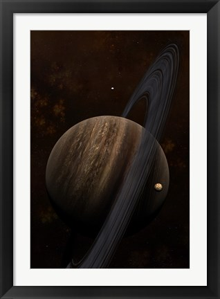 Framed Artist's concept of a ringed gas giant and its moons Print