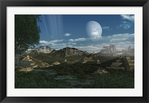 Framed Artist's concept of Mayan like ruins on a ringed planet Print
