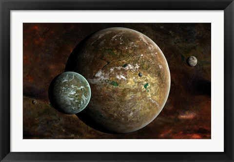 Framed system of extraterrestrial planets and their moons Print