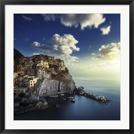 Framed View of Manarola on the rocks at sunset, La Spezia, Liguria, Northern Italy Print