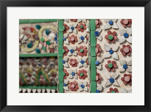 Framed Bell Tower porcelain patterns, Grand Palace, Bangkok, Thailand Print