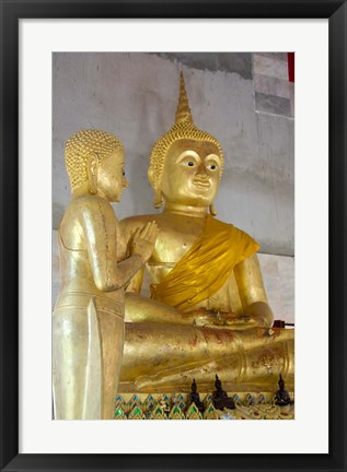 Framed Golden Buddha statue at Khunaram Temple, Island of Ko Samui, Thailand Print