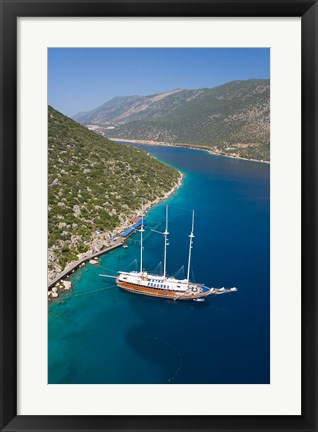 Framed Turkish Yacht, Fethiye bay, Turkey Print