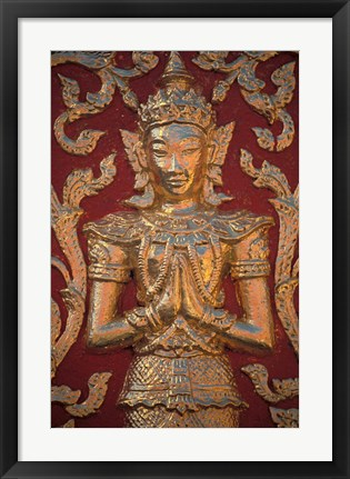 Framed Gold Leafed Deatil at Wat Doi Suthep, Chiang Mai, Thailand Print