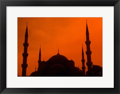 Framed Blue Mosque at Sunset, Istanbul, Turkey Print