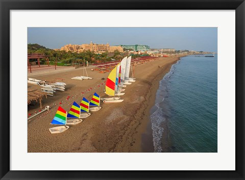 Framed Sailboats on the Beach, Belek, Antalya, Turkey Print
