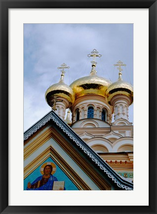 Framed Gold Onion Dome of Alexander Nevsky Cathedral, Russian Orthodox Church, Yalta, Ukraine Print