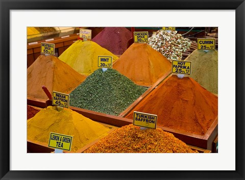 Framed Items for sale in Spice Market, Istanbul, Turkey Print
