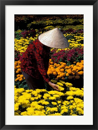 Framed Gardens with Woman in Straw Hat, Mekong Delta, Vietnam Print