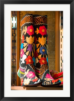 Framed Display of Shoes For Sale at Vendors Booth, Spice Market, Istanbul, Turkey Print