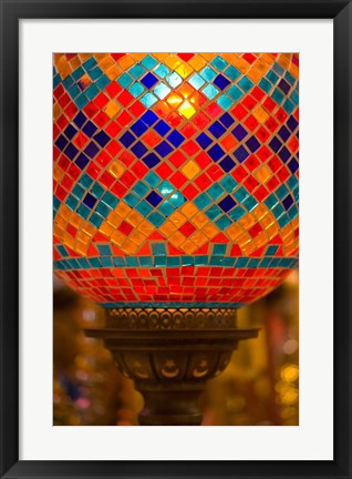 Framed Stained Glass Lamp Vendor in Spice Market, Istanbul, Turkey Print