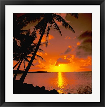 Framed Ocean View at Sunset, Australia Print