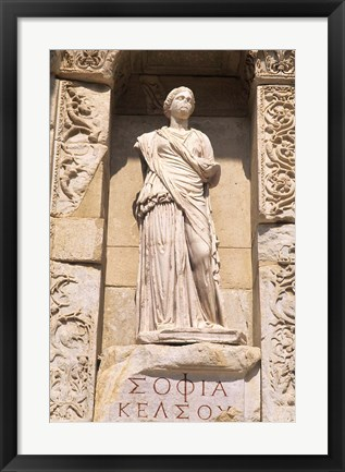 Framed Statue in Historical Wall at Ruins of Ephesus, Turkey Print