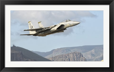 Framed US Air Force F-15C Eagle Over Spain Print