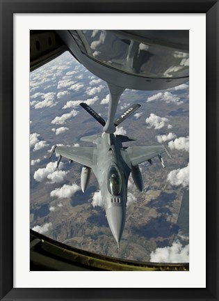 Framed Chilean Air Force F-16 refuels from a US Air Force KC-135 Stratotanker Print