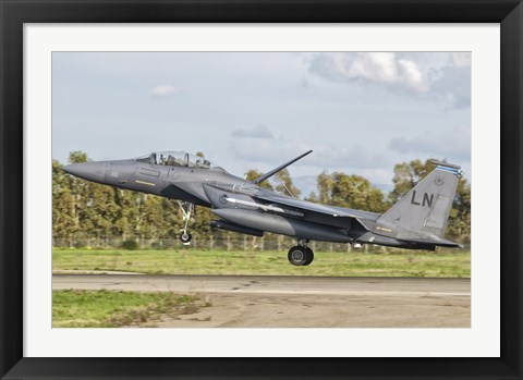 Framed F-15E Strike Eagle, Decimomannu Air Base, Italy Print