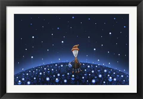 Framed Martian Watering a Starfield Print