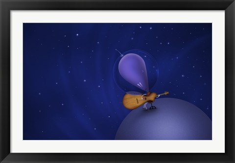 Framed Guitar Playing Martian Print