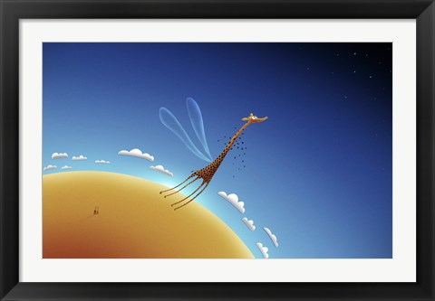 Framed Giraffe Learning to Fly Print