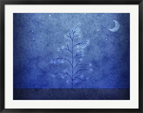 Framed Tree and First Snowfall in Blue Print
