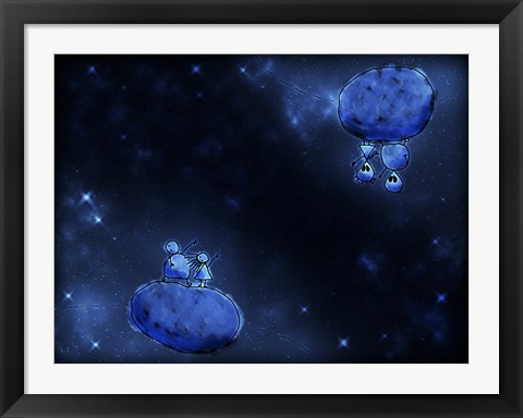 Framed Humans and Aliens in Outer Space Print