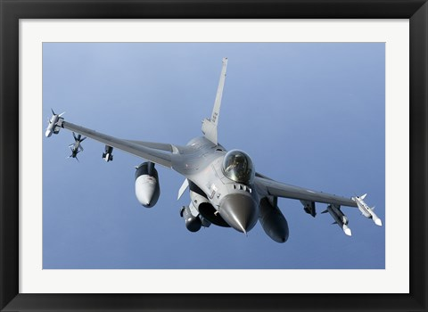 Framed Dutch F-16AM Over the Mediterranean Sea (front view) Print