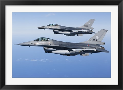 Framed Two Dutch F-16AMs Over the Mediterranean Sea (side view) Print