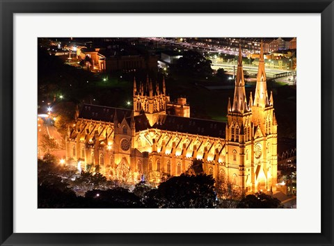 Framed St Mary's Cathedral at Night,  Sydney, Australia Print