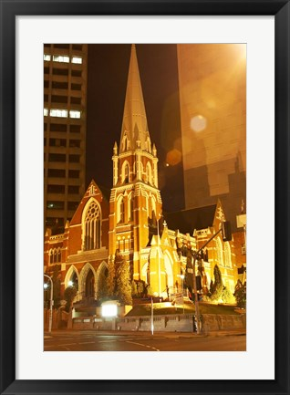 Framed Albert Street Uniting Church at Night, Brisbane, Queensland, Australia Print