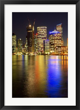 Framed Brisbane River and Brisbane at Night, Queensland, Australia Print
