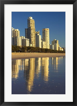 Framed Early Morning Light on Surfers Paradise, Gold Coast, Queensland, Australia Print